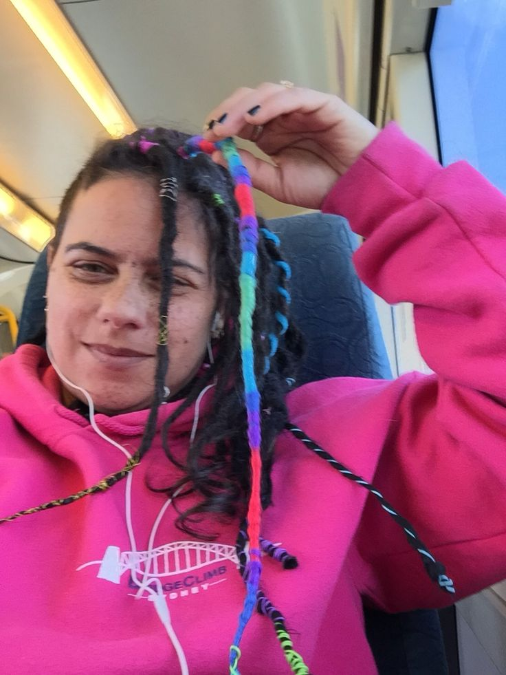 Dreadlock Wrapping on a train