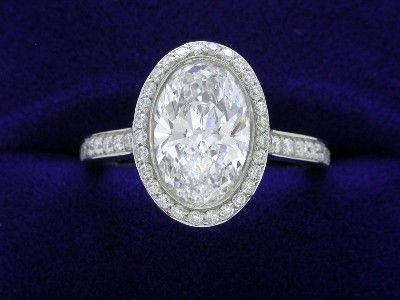 Oval Cut Diamond Ring: 1.70 carat with 1.49 ratio in 0.48 tcw Bez Ambar mounting