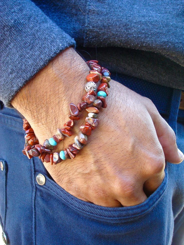 Men's Spiritual Healing, Protection, Fortune Convertible Bracelet/Necklace with Semi Precious Terracotta Jasper, Turquoise - Free-Spirit Man by tocijewelry on Etsy