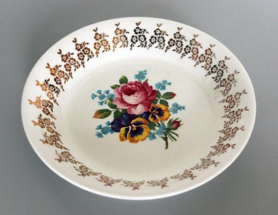Pretty Vintage Floral Empire Porcelain Co Golden Bouquet Bowl