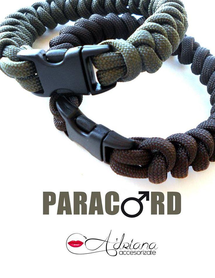 #paracord. #Brazalete #deportivo especial para #hombre en cordón negro, marrón y verde militar. #hombrebello #guapo