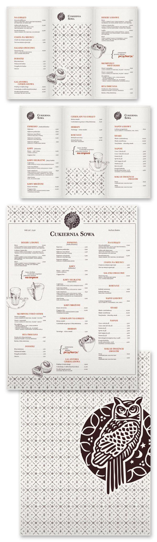 menu design owl creative black and white