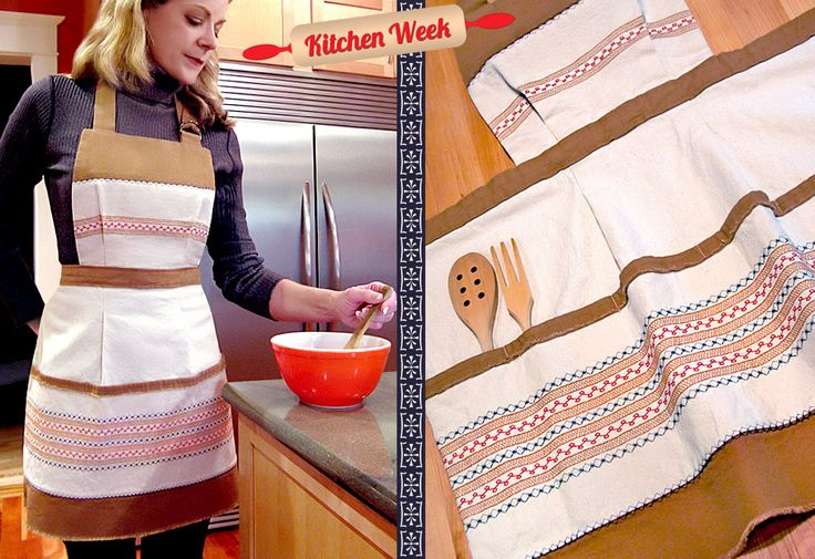 Scandinavian Style Rustic Apron with Decorative Stitching - great idea to use all those decorative stitches on my machine!