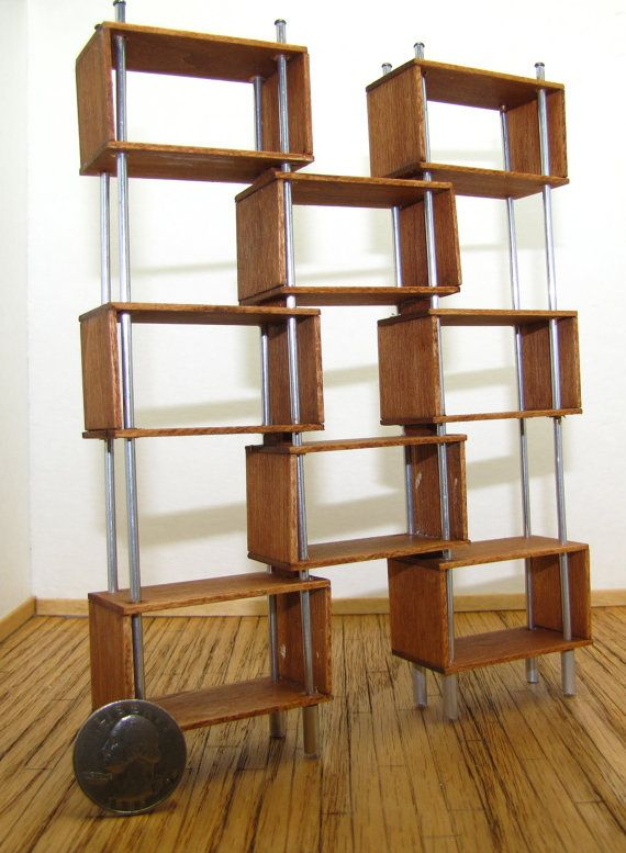 Amazing 1 12 Scale Dollhouse Furniture #11: Dollhouse Furniture Modern Teak And Aluminum Room Divider Or Bookcase 1:12  Scale