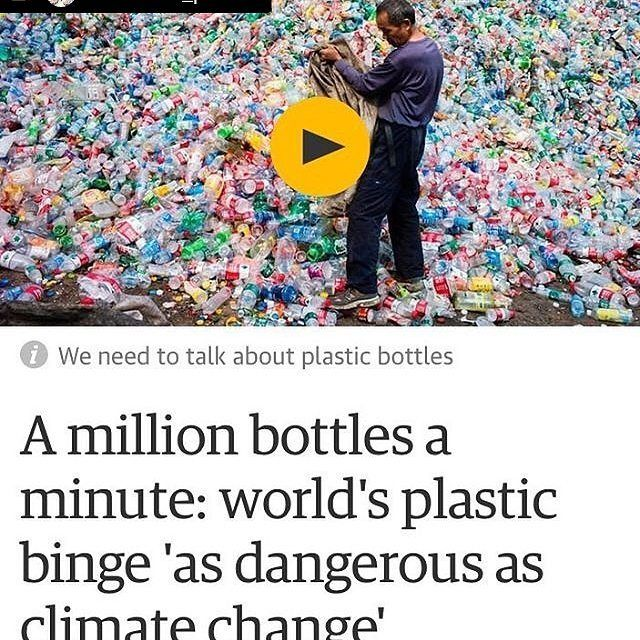 """I'm not the only one concerned about the single-use plastic epidemic! The Guardian: """"We need to talk about plastic"""" ... """"More than 480bn plastic drinking bottles were sold in 2016 across the world up from about...""""  """"Fewer than half of the bottles bought in 2016 were collected for recycling and just 7% of those collected were turned into new bottles. Instead most plastic bottles produced end up in landfill or in the ocean."""" .. Read full article: http://ift.tt/2sQU3uW .. #basura #climatchange…"""