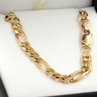 50cm Yellow Gold Figaro Chain Necklace - GN-BFD153