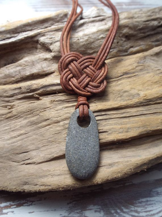 Scottish Sea Pebble and  Leather Celtic Knot Necklace -Seaglass -Surfer Necklace -Beachwear-Etsy seller