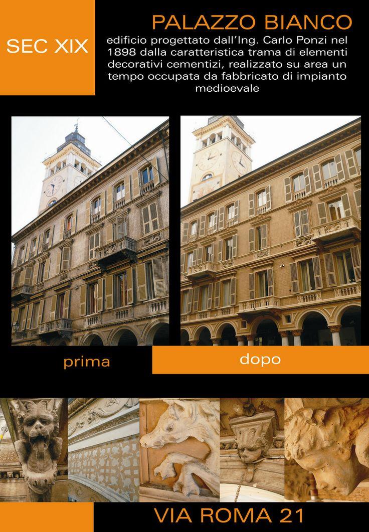 PALAZZO BIANCO, sec. XIX Edificio progettato dall'ing. Carlo Ponzi nel 1898 dalla caratteristica trama di elementi decorativi cementizi, realizzato su area un tempo occupata da fabbricato di impianto medioevale.