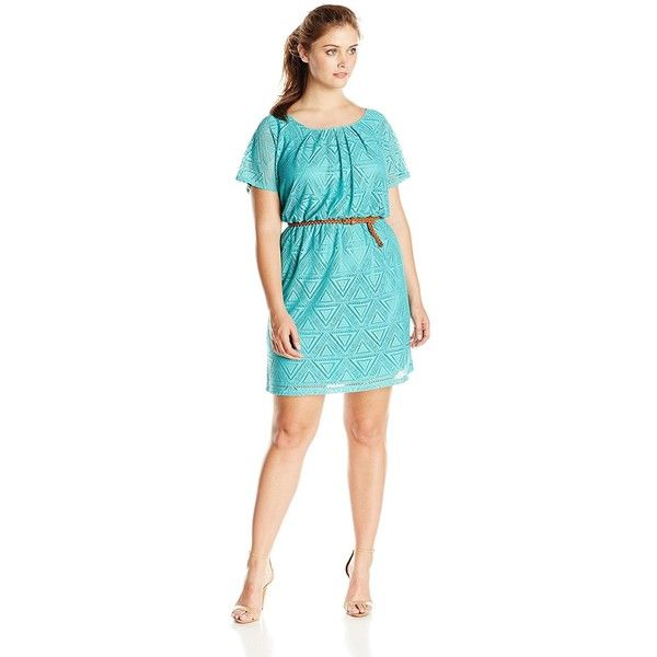 AGB Women's Plus-Size Flutter Sleeve Scoopneck Belted Dress ($28) ❤ liked on Polyvore featuring dresses, plus size, blue dress, blue dress with belt, plus size dresses, blue scoop neck dress and plus size blue dress
