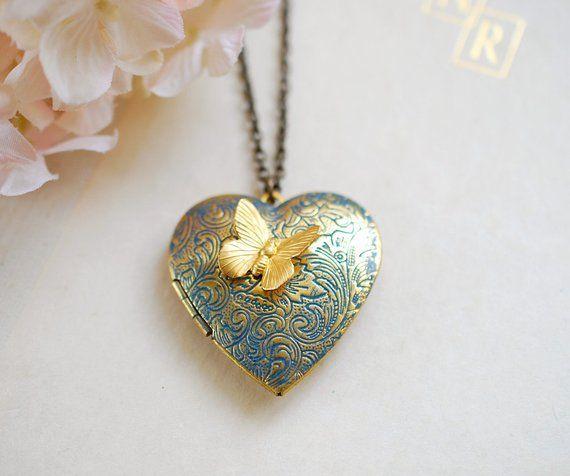 Coronary heart Locket Necklace, Birthday reward for Mother Mom daughter Spouse girlfriend, Butterfly locket necklace, photograph locket, Anniversary reward