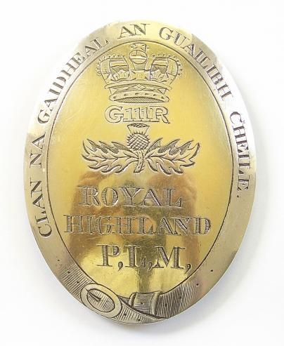 Scottish extremely fine and rare George III Royal Highland Perth Local Militia hallmarked silver oval shoulder belt plate by P Cunningham & Son. Regiment was raised in 1808
