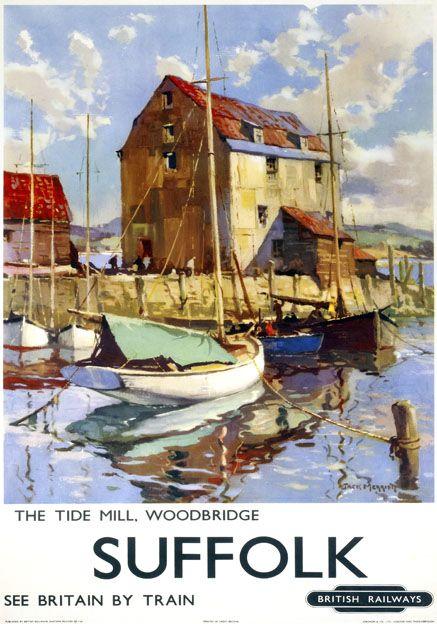 The Tide Mill, Woodbridge, Suffolk. Vintage BR Travel poster by Jack Merriott