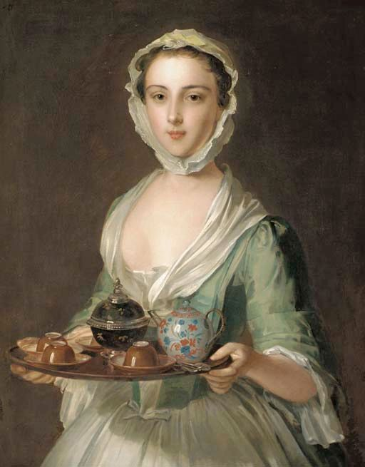 Portrait of a young woman, possibly Hannah, the artist's maid, holding a tea tray, Philip Mercier (c.1689-1760)