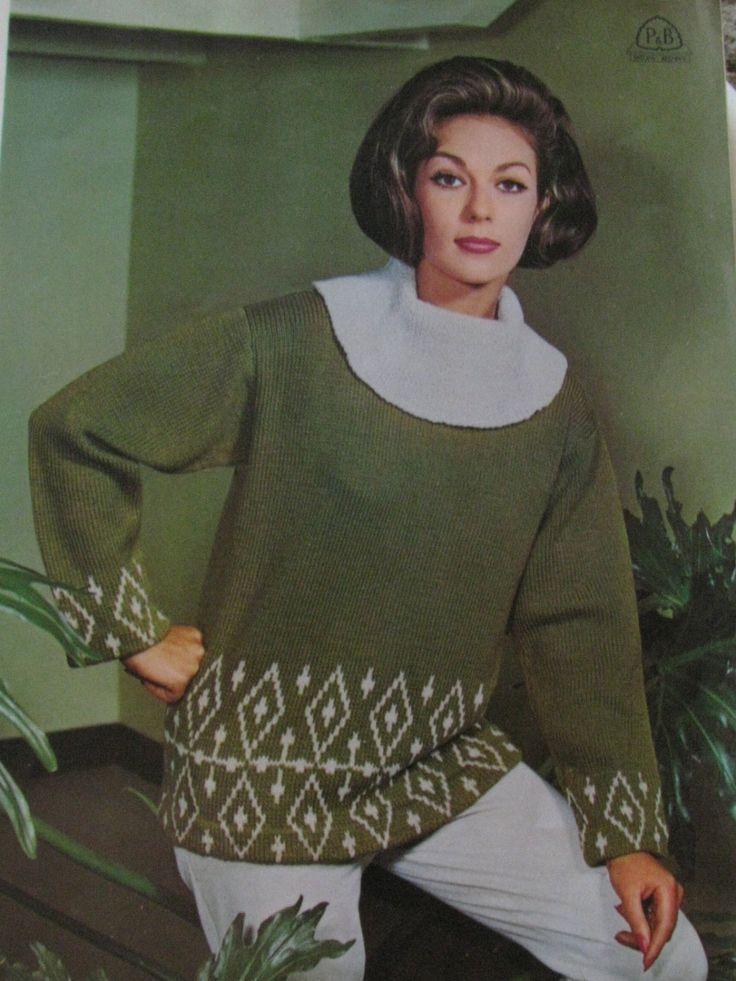 Ladies Ski Jumper Knitting Pattern 1960's Knitting Pattern PDF Instant Download Fair Isle Jumper by TassieVintage on Etsy