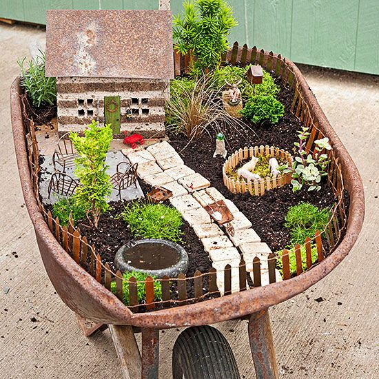 Wheelbarrow Fairy Garden Planter - This is so going to be mine...I have my wheelbarrow already...so excited to get started.