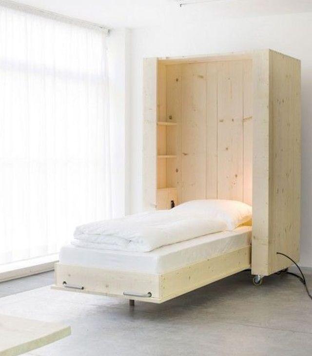 Letto a scomparsa dal design semplice - Letti singoli a scomparsa 2015 in legno chiaro.