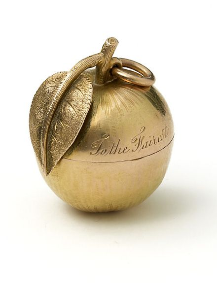ANTIQUE GOLDEN APPLE engraved TO THE FAIREST circa 1900