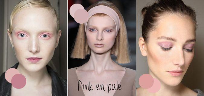 Diverse modehuizen lieten een roze en bleke make-up zien. Roze oogschaduw en lippen waarbij de rest van het gezicht bleek en met een lichte blos werd gehouden.