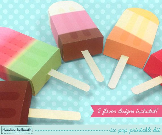 ice pop party favor boxes and gift card by claudinehellmuth
