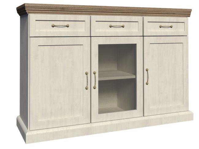 Vitrína - Tempo Kondela - Royal - K1S  Elegantná a praktická komoda Royal v anglickom štýle, ktorou si zariadite obývačky, pracovne alebo jedálne. Má tri zásuvky a presklenú časť uprostred. Farebné prevedenie je biela sosna nordická v kombinácii s dubom divokým.