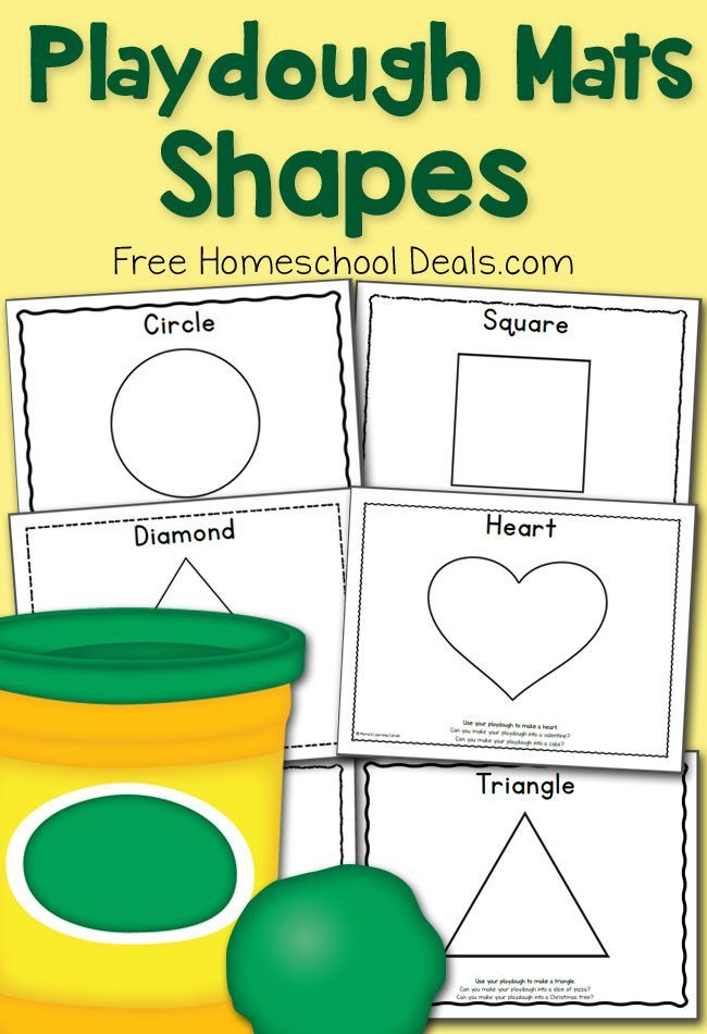 Playdough Mats: Shapes! Includes activity prompts on each mat.
