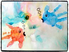 poissons empreintes de mains, bricolage enfant