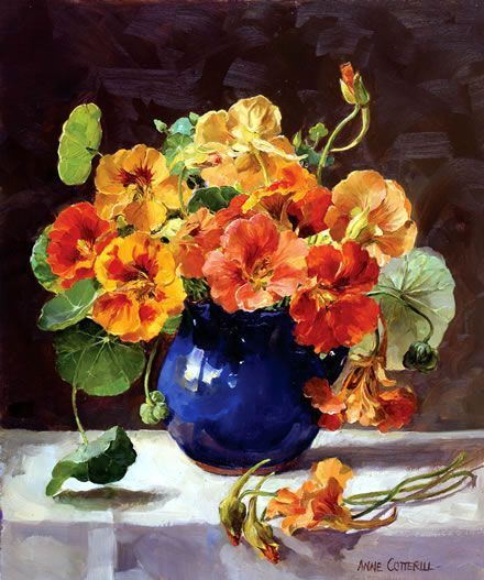 Check out these nasturtiums! Inspiration for our watercolor nasturtium project! A stunning still life painting in oil by Anne Cotterill