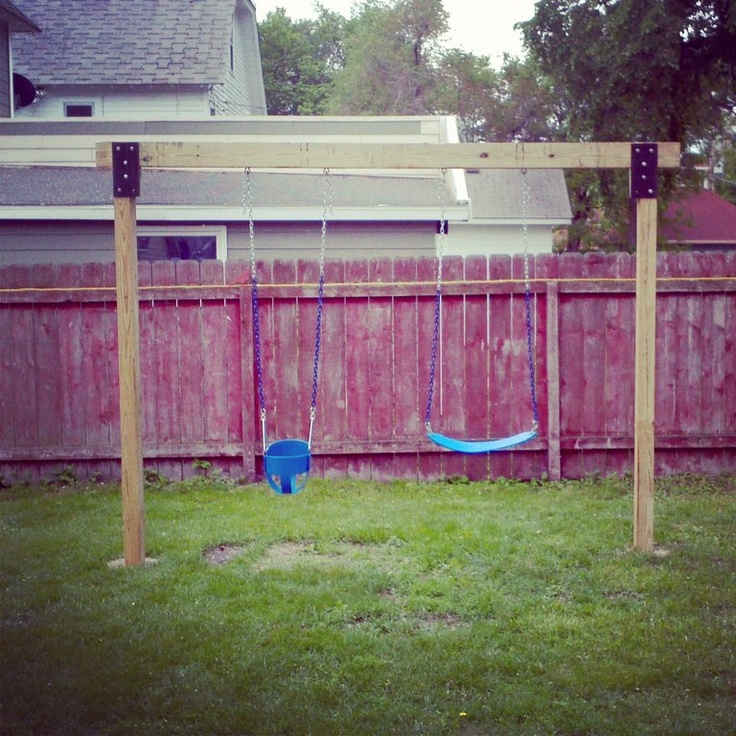 diy swingset 4x6 post and metal face plates for the