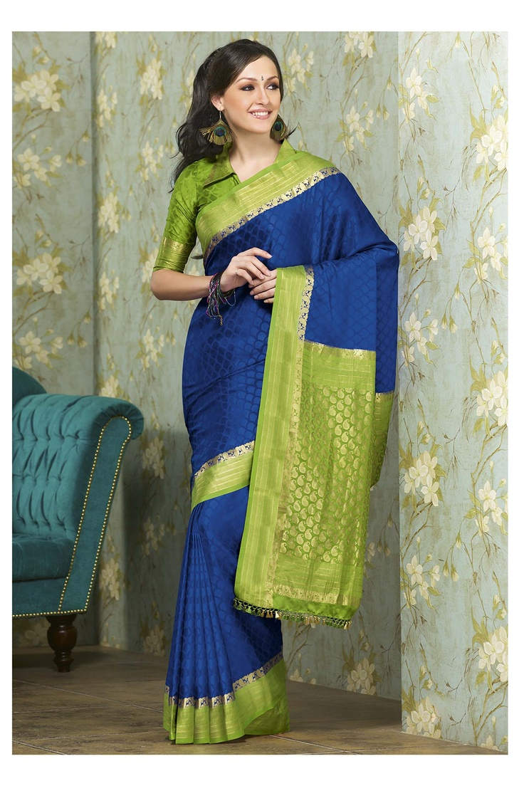 Gorgeous blue green mysore silk saree