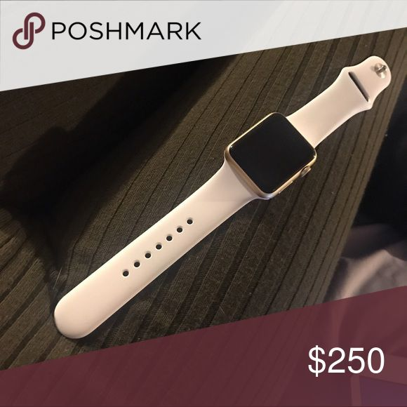 Gold Apple Watch with white bands . Gold iPhone watch , with white bands . In perfect condition Accessories Watches
