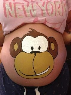 Cute monkey face belly painting