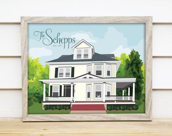 Our little blue house would look so adorable!!!  Home Portrait w. Pets Illustration -Custom Print- Home Sweet Home - First Home, Christmas, Holiday, Anniversary, Newlywed or Homeowner Gift