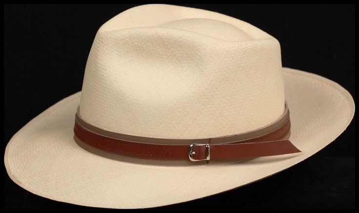 Brown on Tan 1 inch Leather hat band
