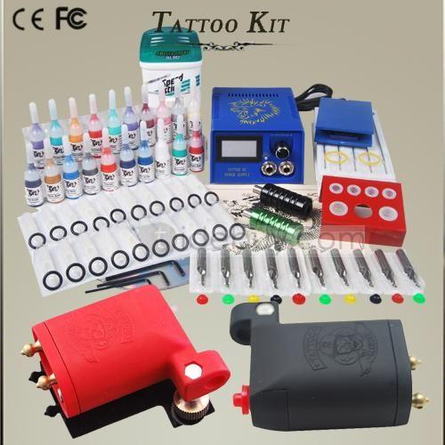 Professional Tattoo Kits 2 New Machine Gun Power Needles 20 Tattoo Ink DIY-158