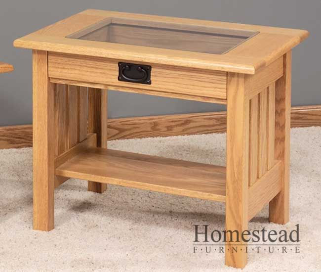 Attrayant Display Top Mission End Table W/Glass Top By Homestead Furniture Made In  Amish Country
