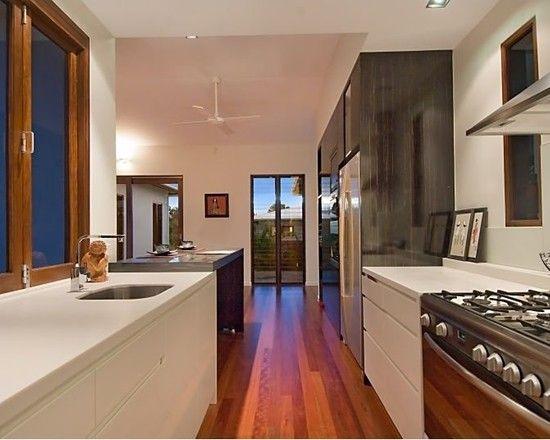 Charming Resort Design with Contemporary Look: Sleek Modern Kitchen Design Wooden Floor Pavilion House