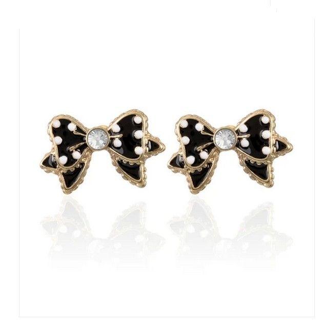 Vintage Black Bowknot Alloy Semi-precious Stone Alloy Earring