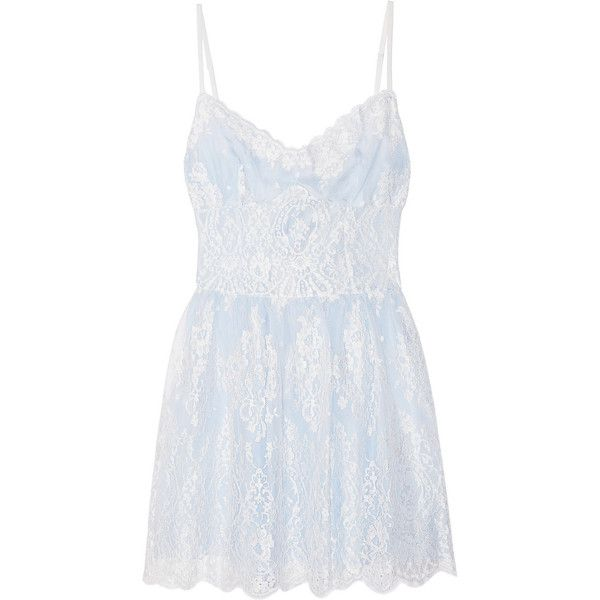 Rosamosario Lord Byron Loves Italy lace chemise ($320) ❤ liked on Polyvore featuring intimates, chemises, dresses, lingerie, pajamas, pijamas, sky blue, lacy lingerie, lingerie slips and rosamosario