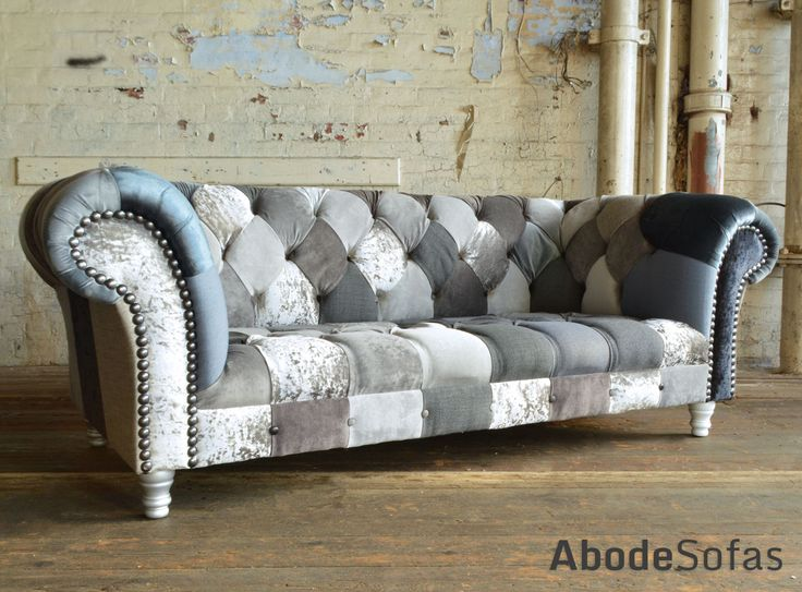 Modern British and handmade grey mix Patchwork Chesterfield Sofa. Totally unique fabric 3 seater, shown in a range of grey, black and silver colours. | Abode Sofas