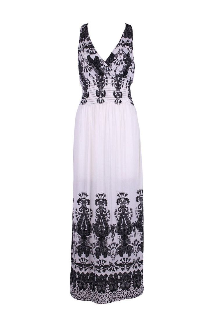 Sleeveless Antique Design Maxi Resort Holiday Summer Dress