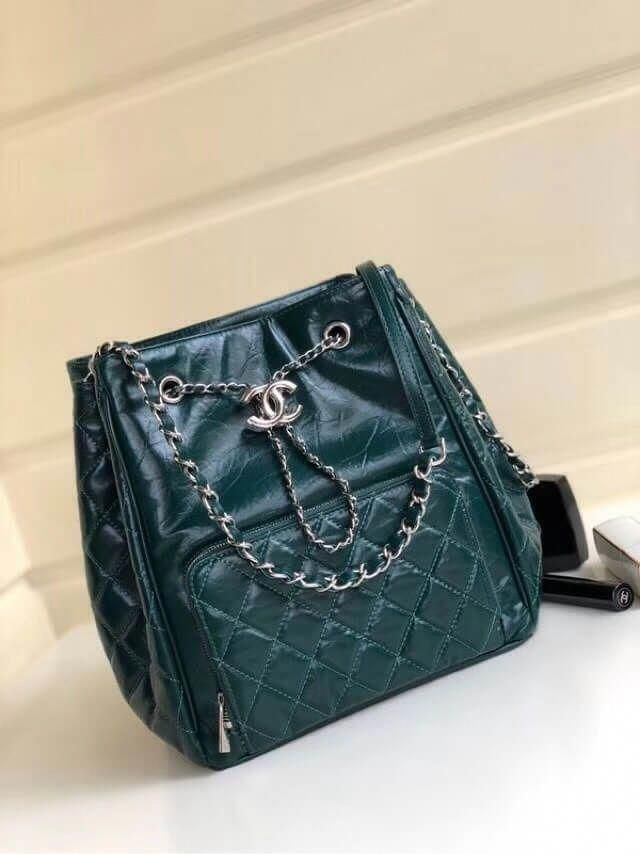 dcc93c091edd Chanel Aged Calfskin Drawstring Bag A57819 Green 2018  Chanelhandbags