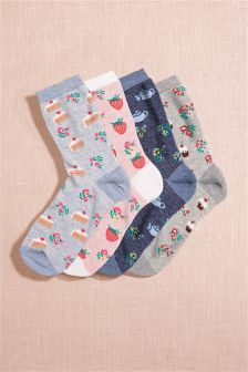 Next Pink/Blue Afternoon Tea Ankle Socks Four Pack £8