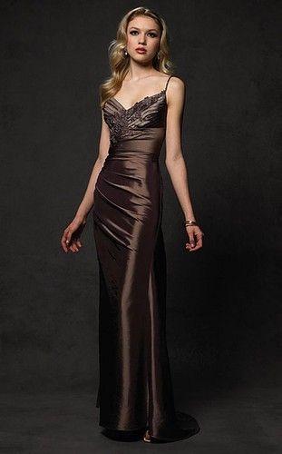 latest dark brown evening dress