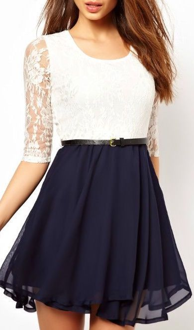 Navy + Lace Chiffon Dress = ♥! I would probably want the skirt a few inches longer though but otherwise GORGEOUS!!!