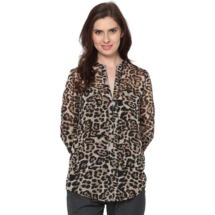 30% off on Animal Print Chiffon Daisy #Shirt  #fashion #style #trend #tops #onlineshopping #sale #discount  http://goo.gl/RvONVV
