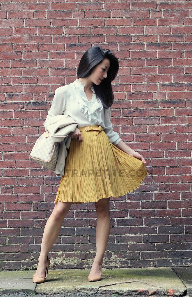 Blouse: Ann Taylor; Skirt: Modcloth Mustard Yellow Pleated Skirt; Belt: H&M; Purse: LV SPeedy 25