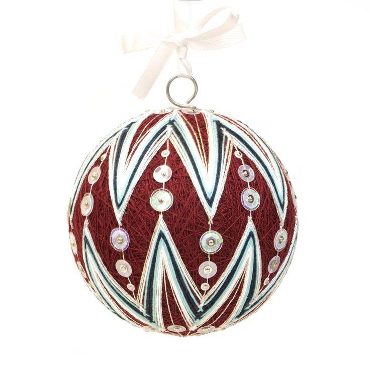 Christmas ornment inpired on Japanese art temari. Pattern - TWINKLING STAR. Handmade by JoeyART.