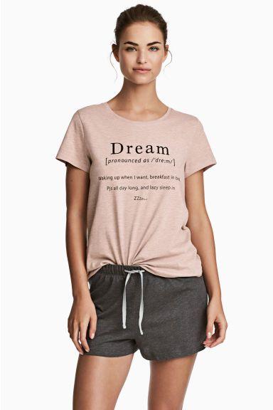 Pigiama con top e pantaloncini - Rosa antico - DONNA | H&M IT 1