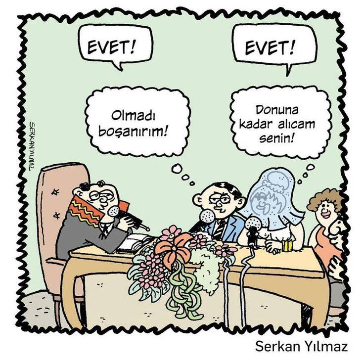 - EVET! + EVET! - (Olmadı boşanırım!) + (Donuna kadar alıcam senin!) #karikatür #mizah #matrak #komik #espri #şaka #gırgır #komiksözler http://turkrazzi.com/ppost/383228249532427798/