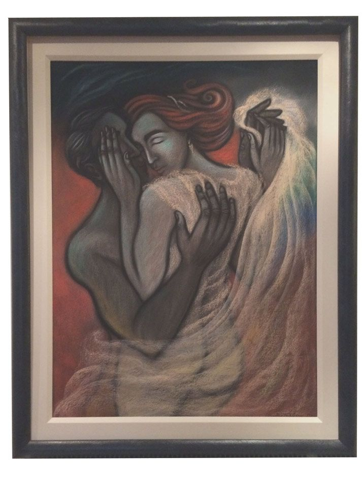 Beloved: Beloved Description: A warm image of two lovers in a tender embrace, holding hands and she tenderly touching his face. I… #IrishArt